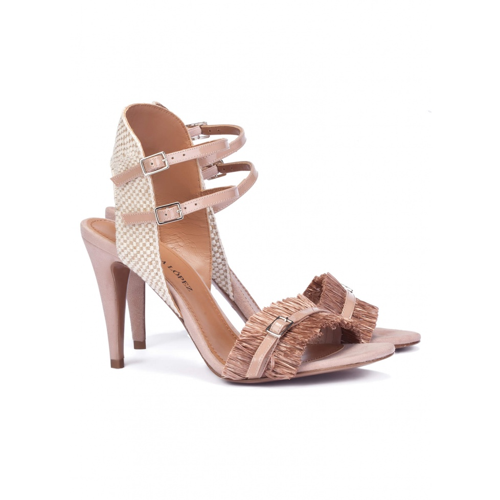 Nude heeled sandals in raffia- online shoe store Pura Lopez