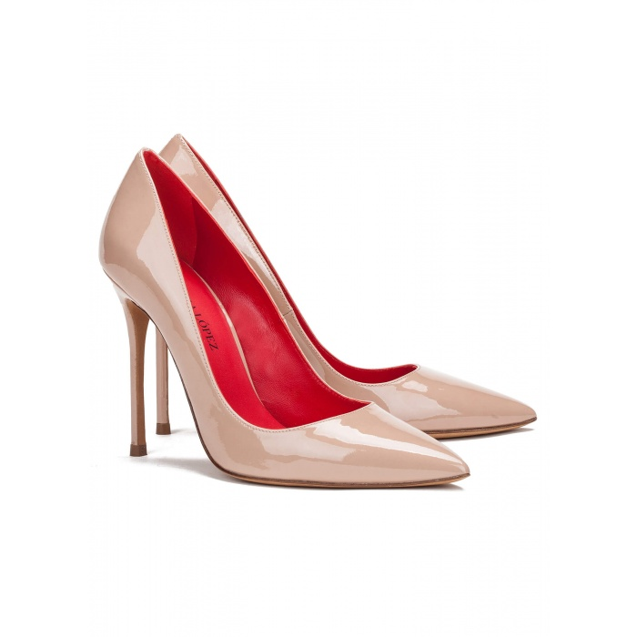 Heeled pumps in nude patent - online shoe store Pura Lopez
