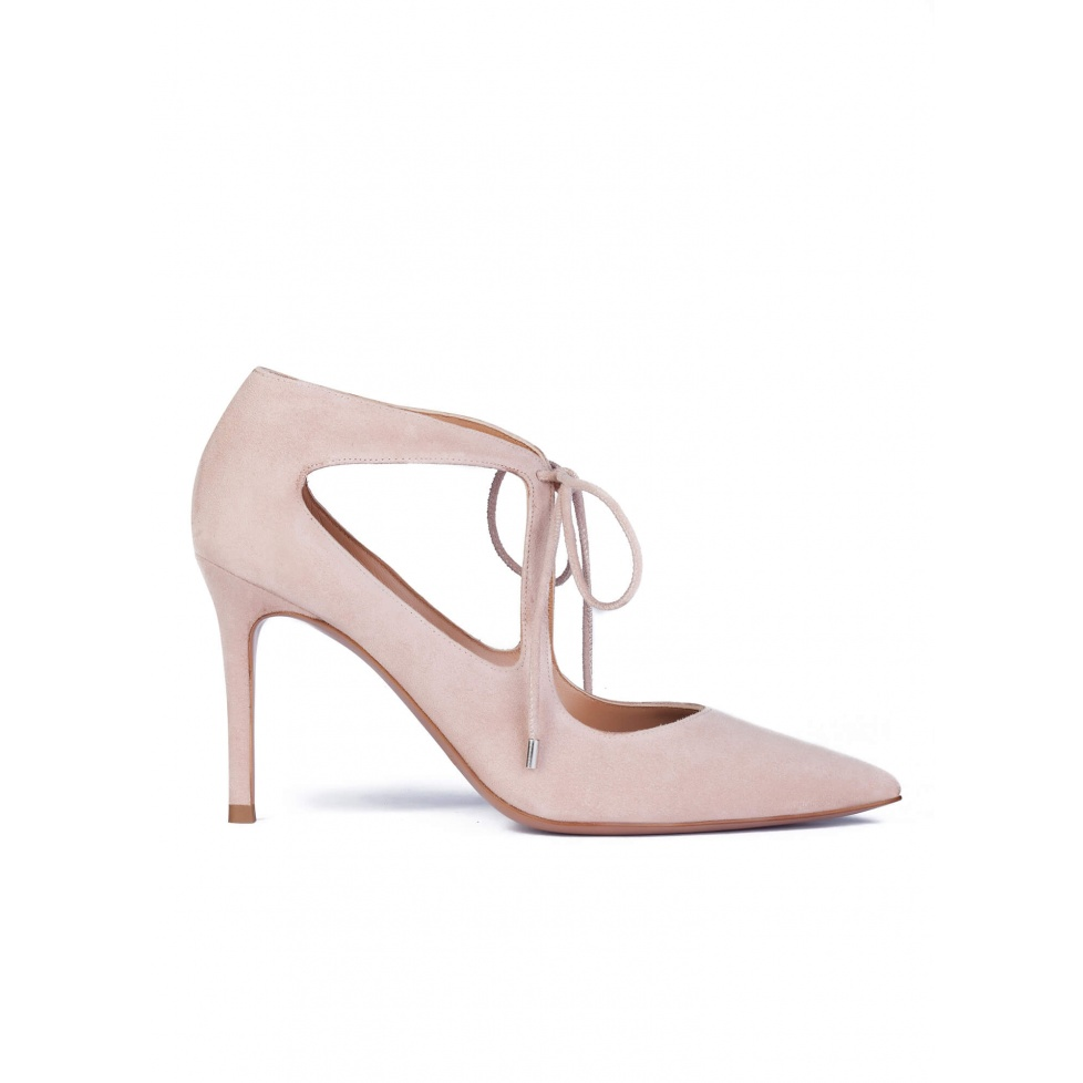 Nude suede lace-up shoes
