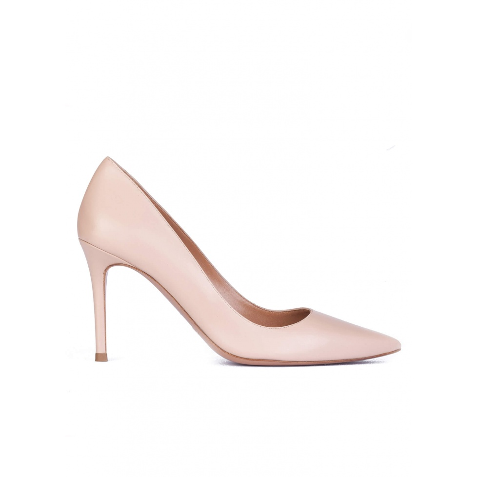 Nude calf leather pointy toe pumps