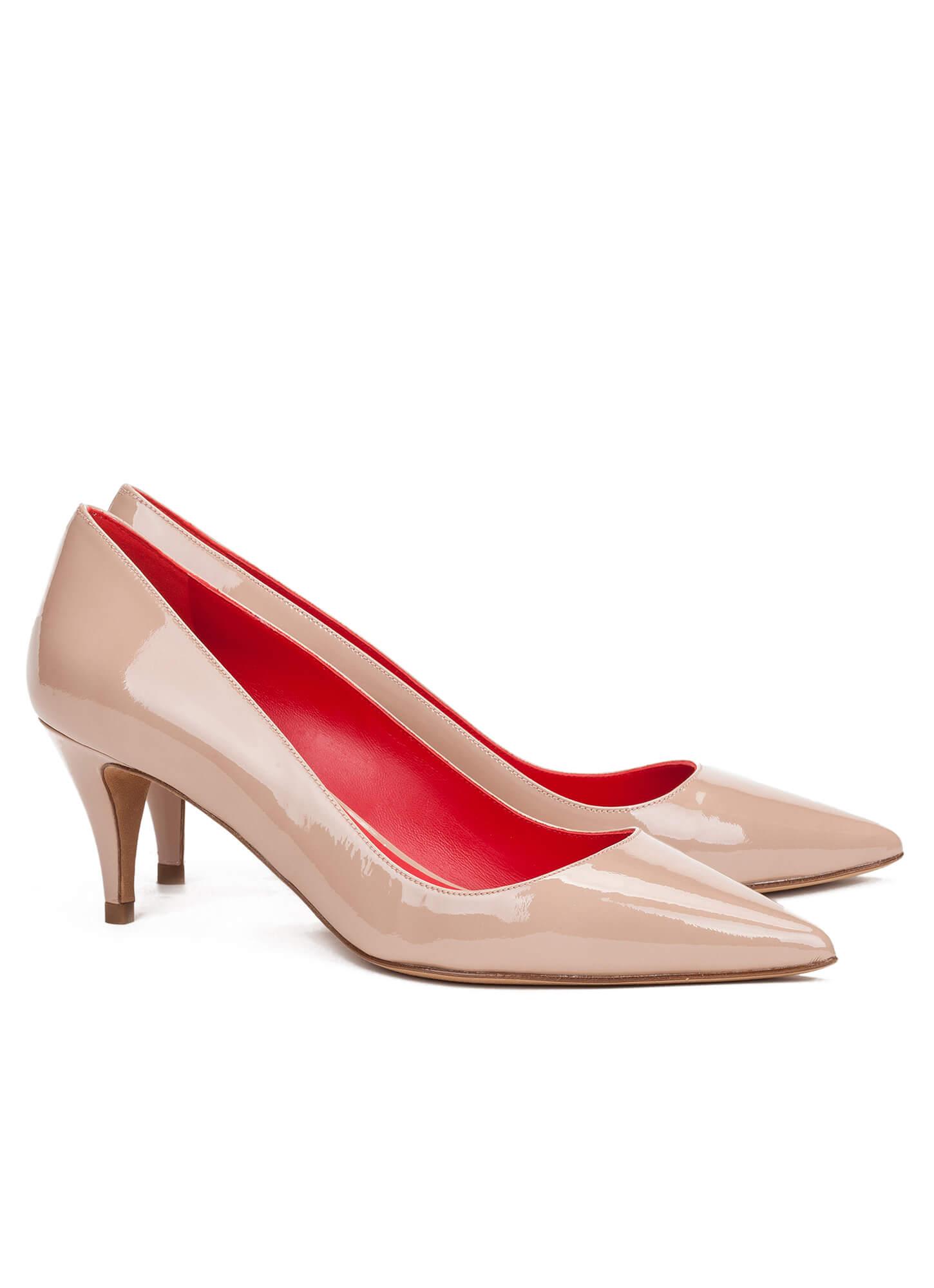 Mid heel pumps in nude patent - online shoe store Pura Lopez ...