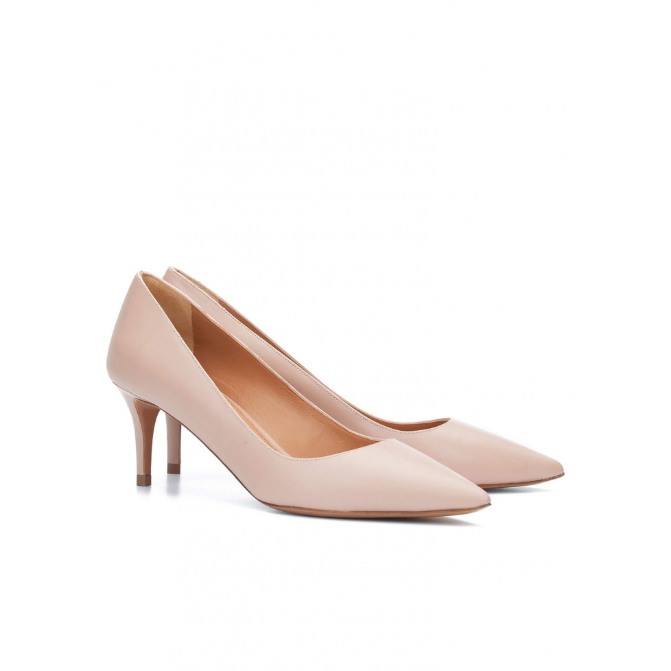 Mid heel pumps in nude leather - online shoe store Pura Lopez