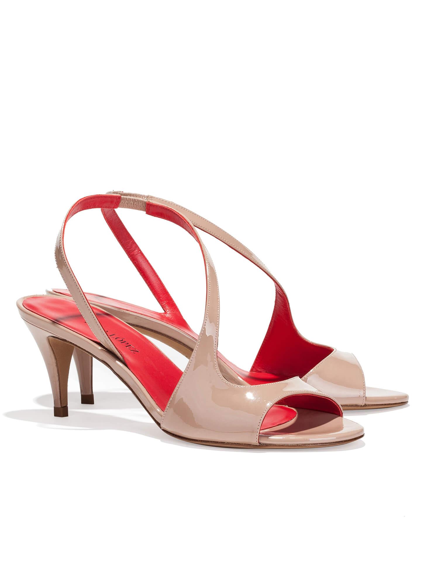 Zapatos Medio López Pura Tacón De Sandalia Tienda Charol En RYpva
