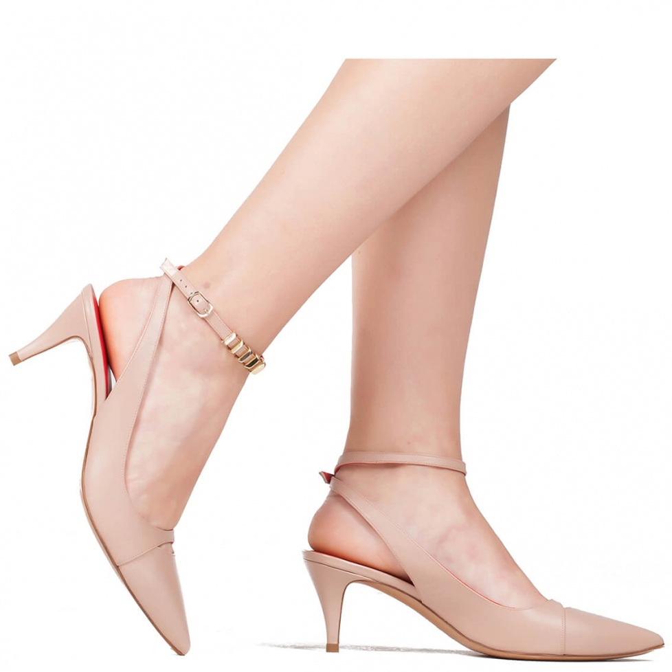Mid heel shoes in nude leather - online shoe store Pura Lopez