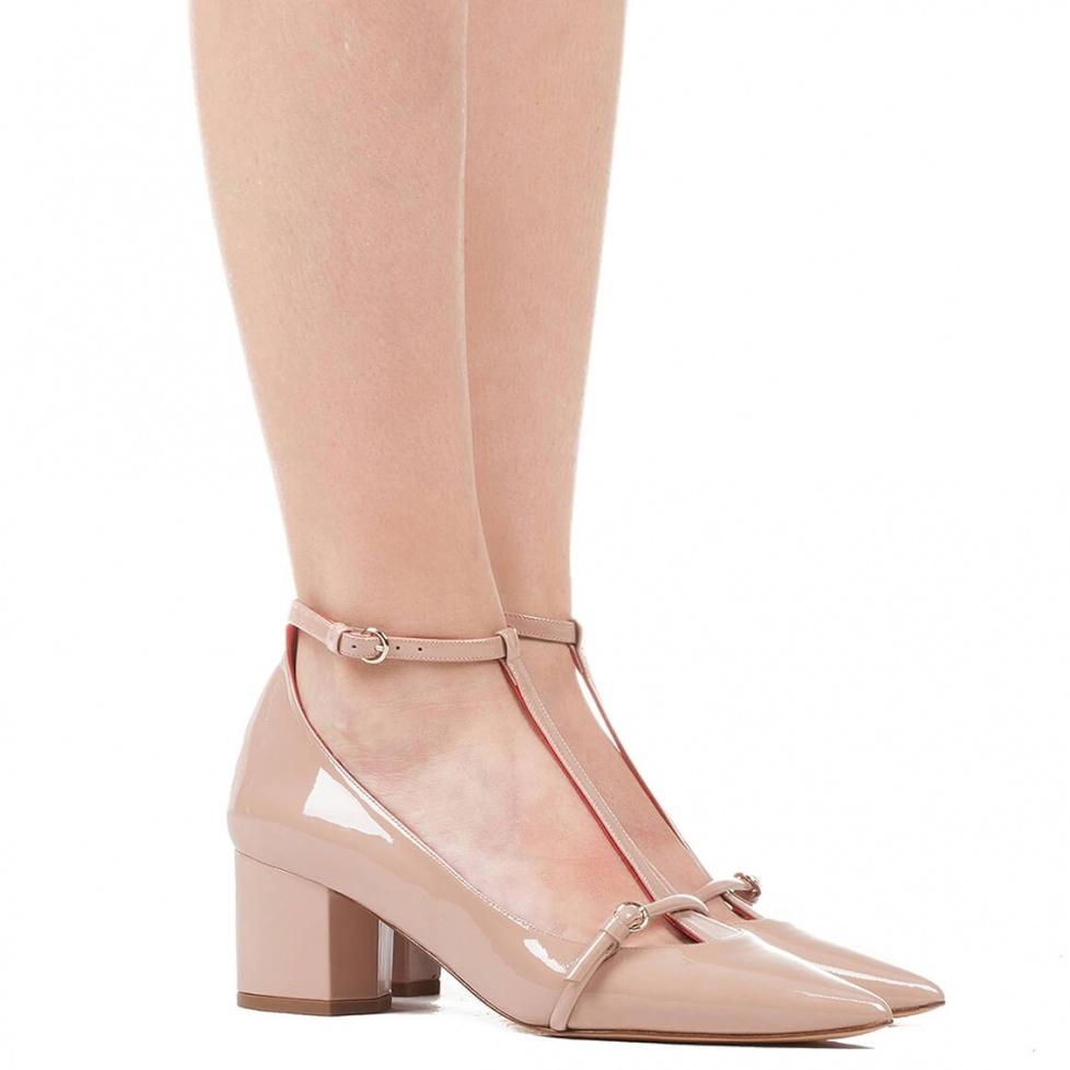 Zapato de tacón medio en charol nude - tienda de zapatos Pura López