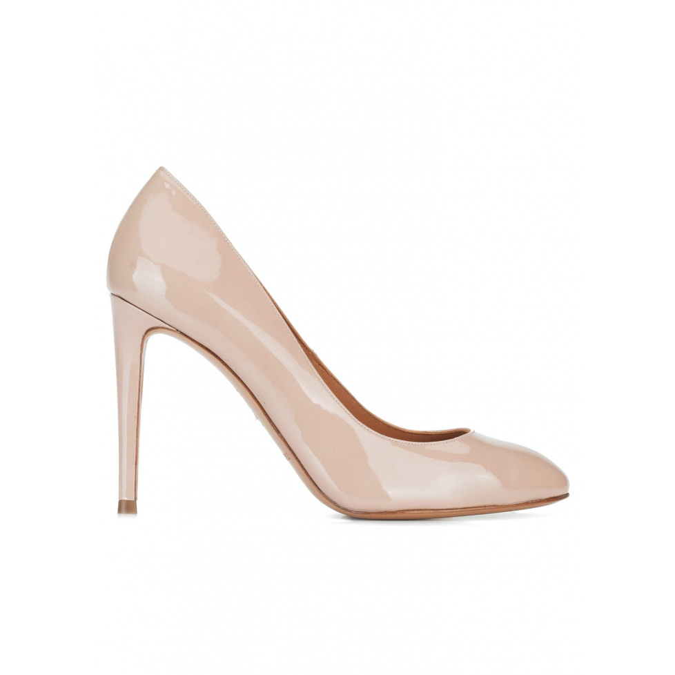 Nude patent leather high heel pumps