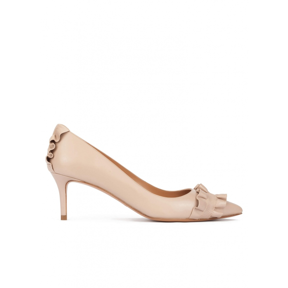 Ruffled pointed toe mid heel pumps in nude leather