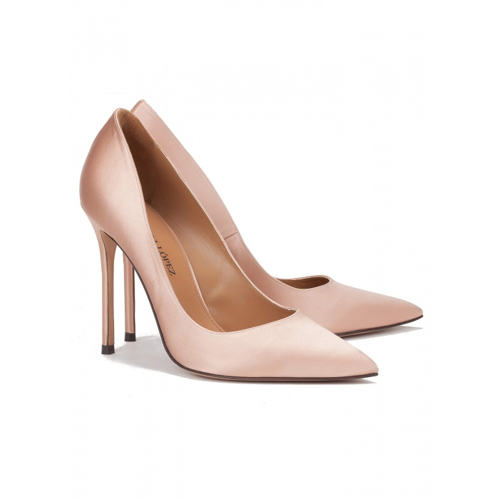 High heel pumps in nude satin - online shoe store Pura Lopez