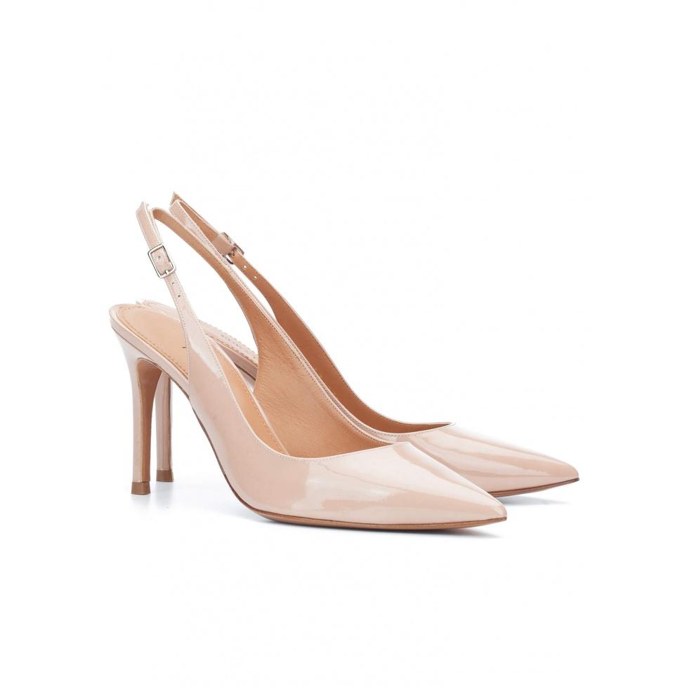 Slingback pumps in nude patent - online shoe store Pura Lopez