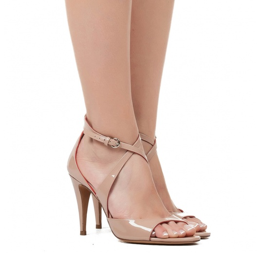 Strappy high heel sandals in nude patent leather Pura L�pez