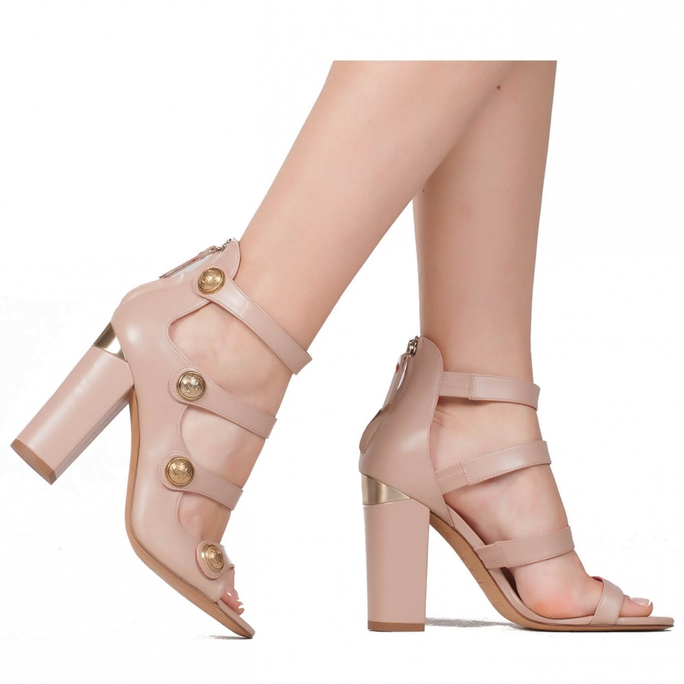 High heel sandals with metal buttons - online shoe store Pura Lopez
