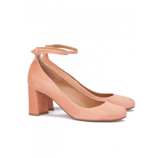 Ankle strap mid heel shoes in old rose suede Pura L�pez