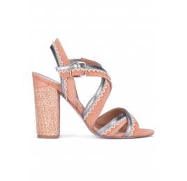 Strappy block heel sandals in old rose suede Pura López
