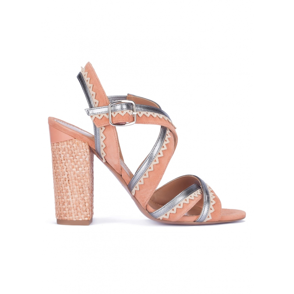 Strappy block heel sandals in old rose suede