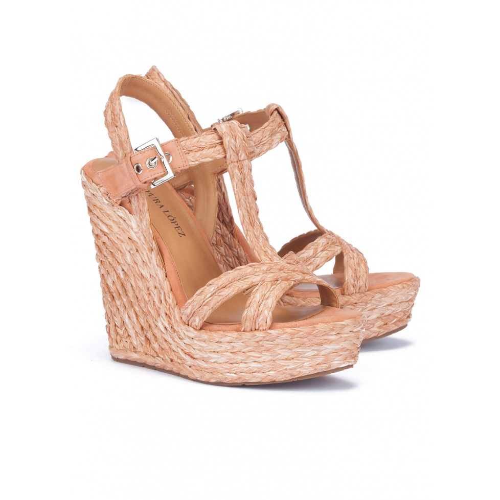 Wedge sandals in old rose raffia - online shoe store Pura Lopez