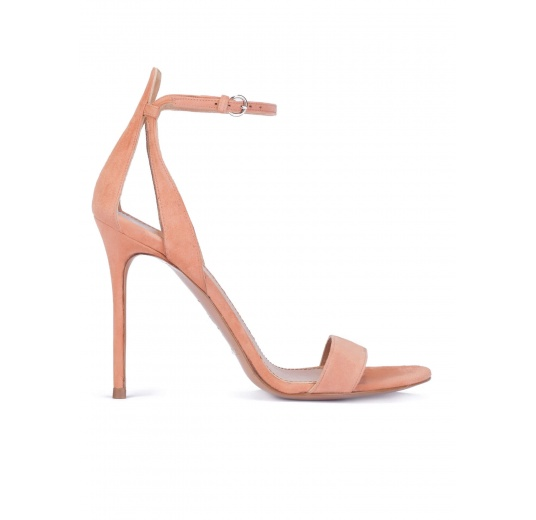 Ankle strap heeled sandals in old rose suede Pura L�pez