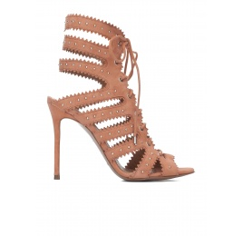 Lace-up high heel sandals in old rose suede Pura López