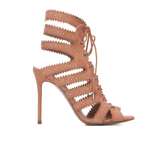 Lace-up high heel sandals in old rose suede Pura L�pez