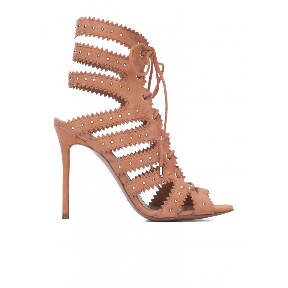 Lace-up high heel sandals in old rose suede