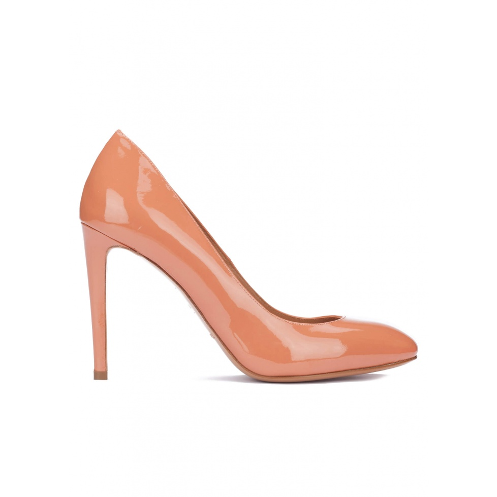 Old rose patent leather heeled pumps