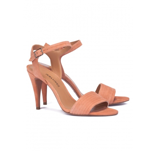 Old rose suede high heel sandals Pura L�pez