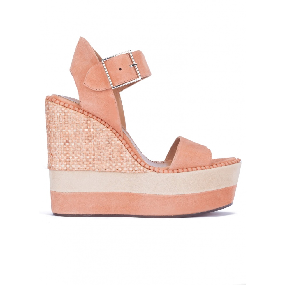 High wedge sandals in old rose suede