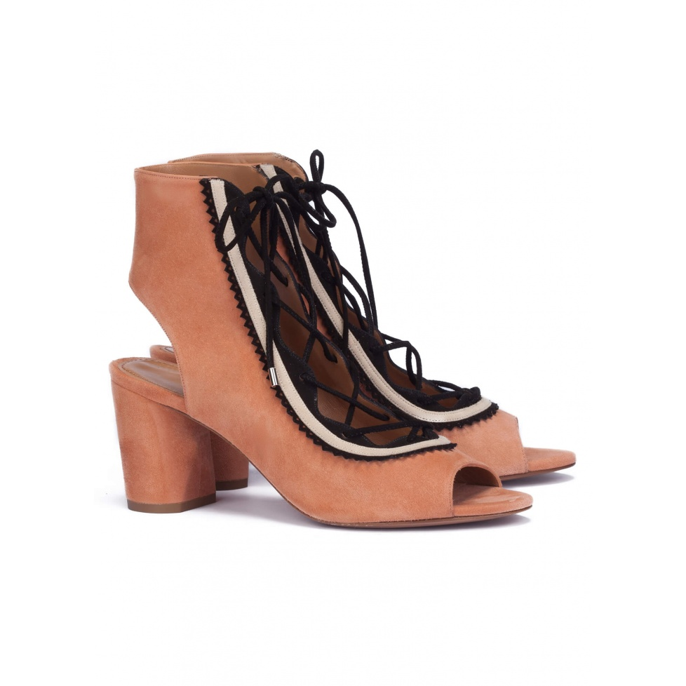 Old rose lace-up sandals - online shoe store Pura Lopez
