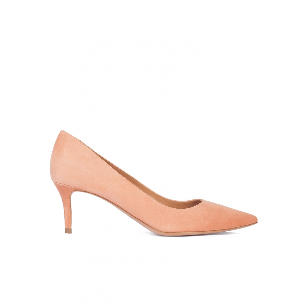 Mid heel pointy toe pumps in old rose suede