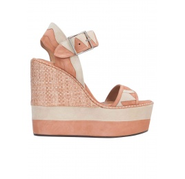 High wedge sandals in old rose and sand suede Pura López