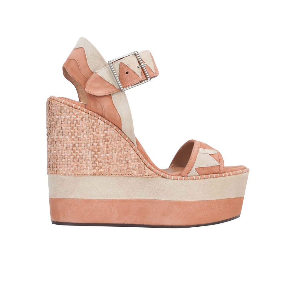 High wedge sandals in old rose and sand suede