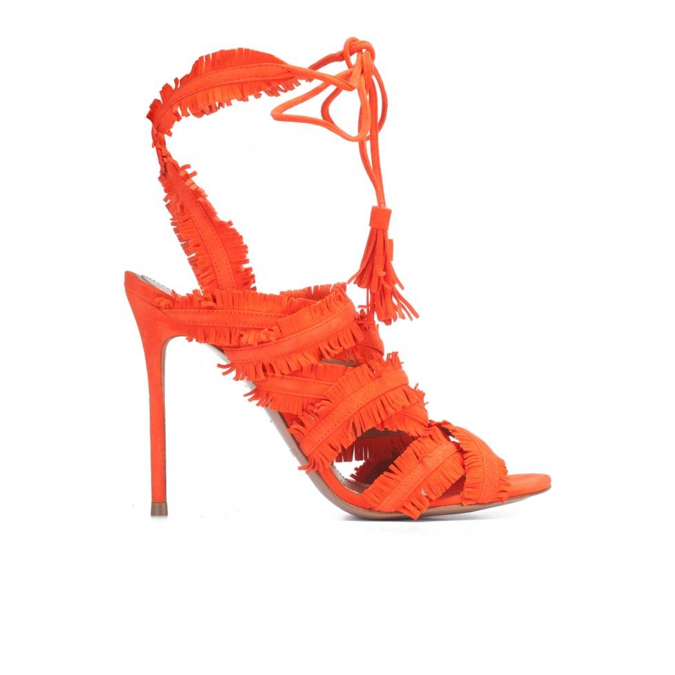 Strappy high heel sandals in orange suede
