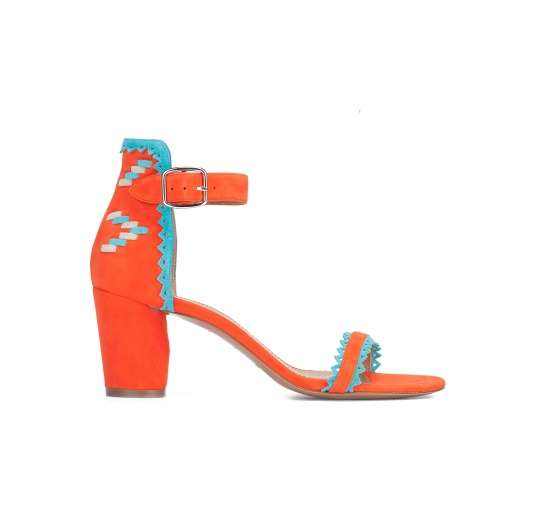 Orange block heel sandals with tribal detail at back Pura L�pez
