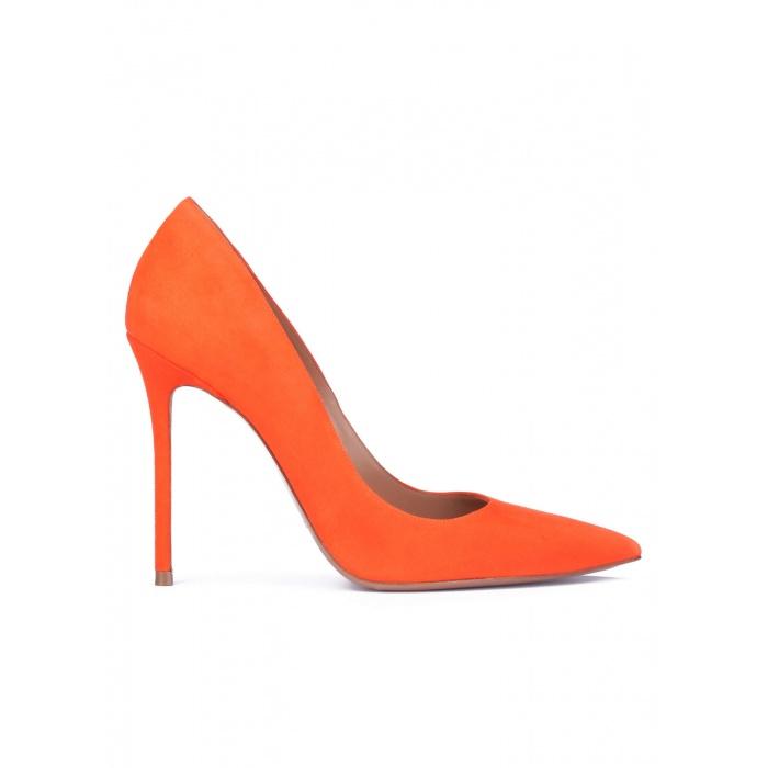 Orange suede pointy toe stiletto pumps