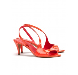 Strappy mid heel sandals in tangerine patent leather Pura López