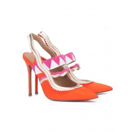 Orange suede heeled slingback pumps Pura López