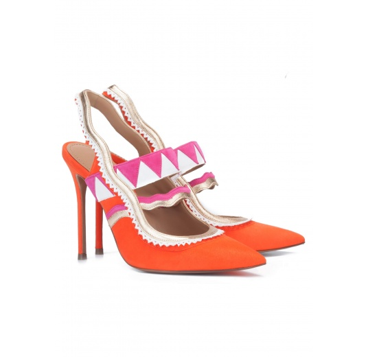 Orange suede heeled slingback pumps Pura L�pez