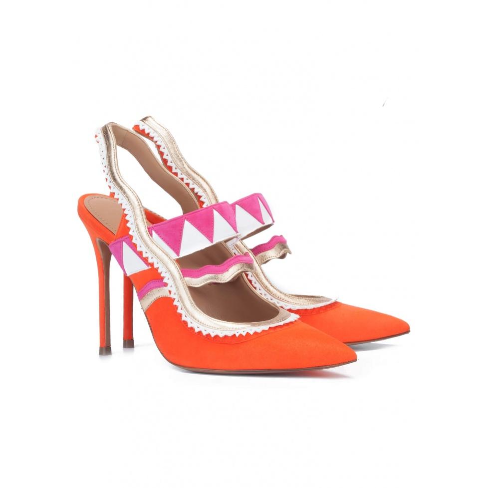 Orange slingback pumps - online shoe store Pura Lopez
