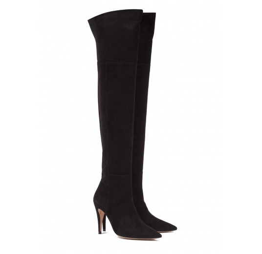 Over-the-knee high heel boots in black suede Pura L�pez