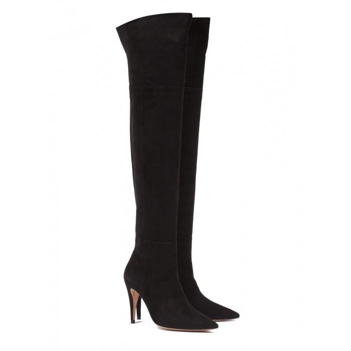 Black suede high heel boots - online shoe store Pura Lopez