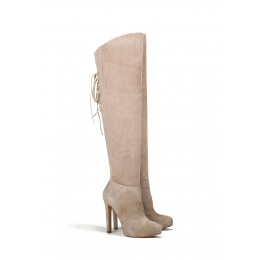 Over the knee boots in sand suede Pura López