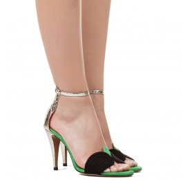 Ankle strap high heel sandals in black and green suede Pura López