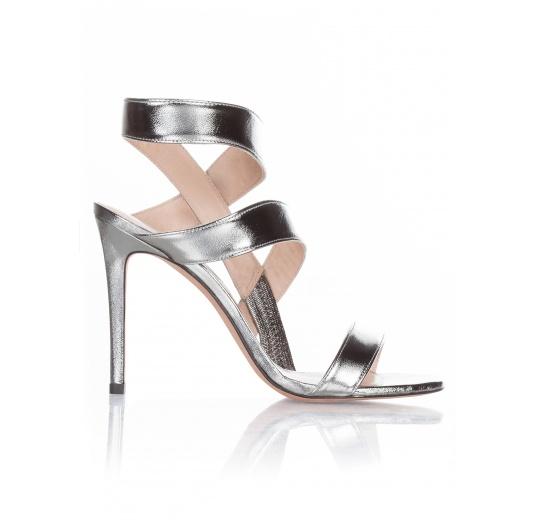 High heel sandals in steel metallic leather Pura L�pez