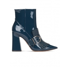 High block heel ankle boots in petrol blue patent leather Pura López