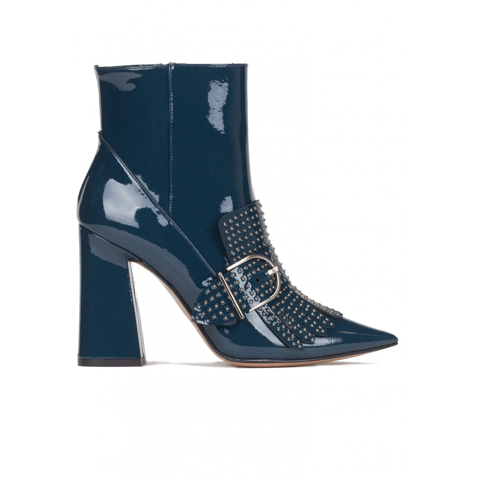High block heel ankle boots in petrol blue patent leather