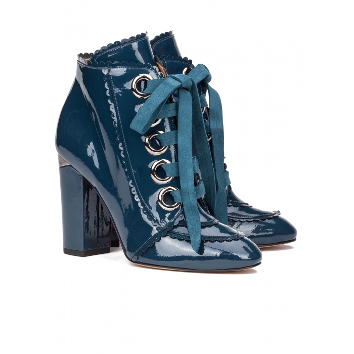 Patent lace-up heeled ankle boots - online shoe store Pura Lopez
