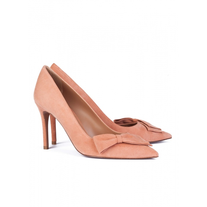 High heel pumps in peach suede - online shoe store Pura Lopez