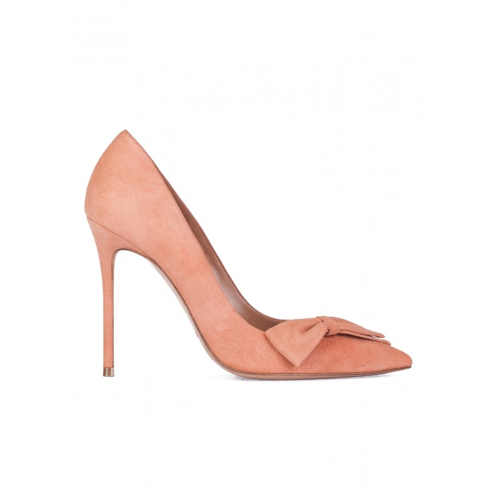 Bow detailed high heel pumps in old rose suede