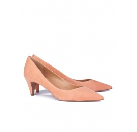 Peach suede point-toe pumps Pura López