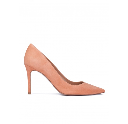 Old rose suede heeled pumps Pura L�pez