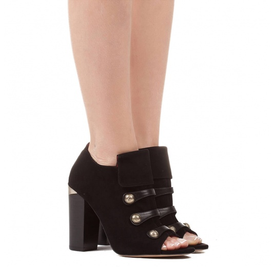 High block heel ankle boots in black suede and leather with metallic buttons Pura López
